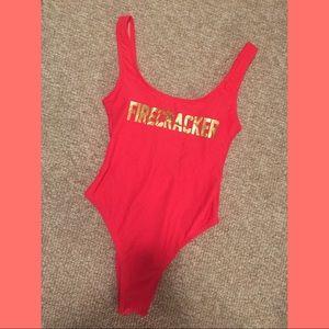 nwt • firecracker one piece bathing suit